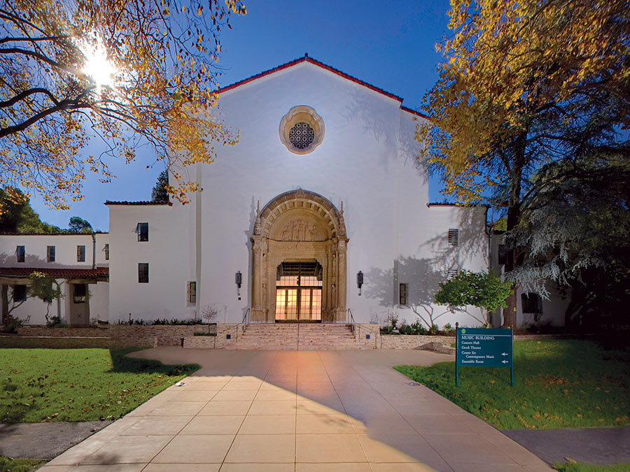 Exterior of the majestic Littlefield Concert Hall at Mills College