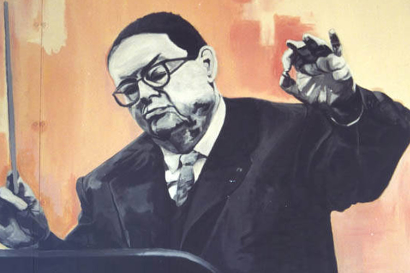 A painting of Darius Milhaud conducting. From the collection of the Darius Milhaud Society.