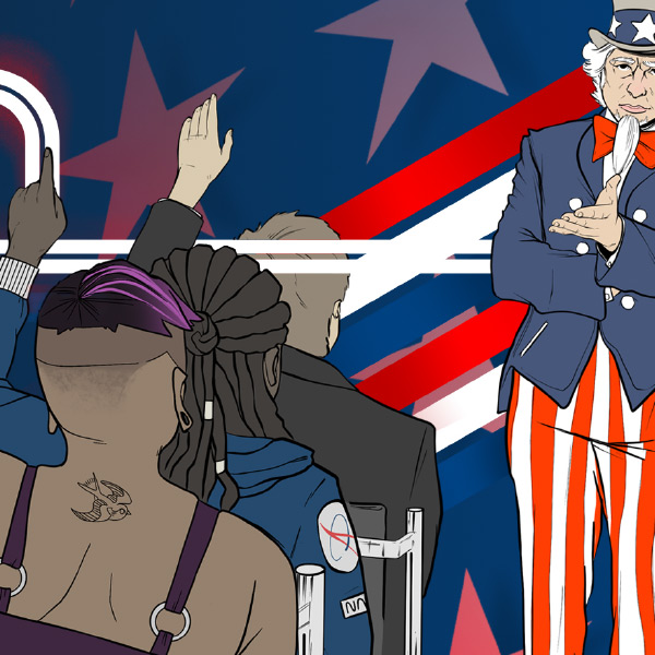 A cartoon shows three bodies back to the viewer with their hands raised, a standing Uncle Sam gestures to their questions. Design by Trevor Polcyn.