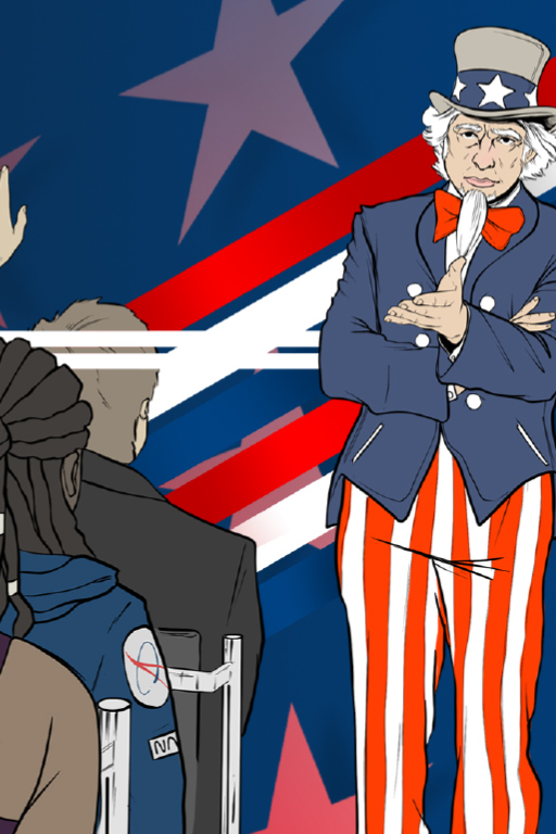 A cartoon of Uncle Sam standing before and calling upon three people with their hands raised