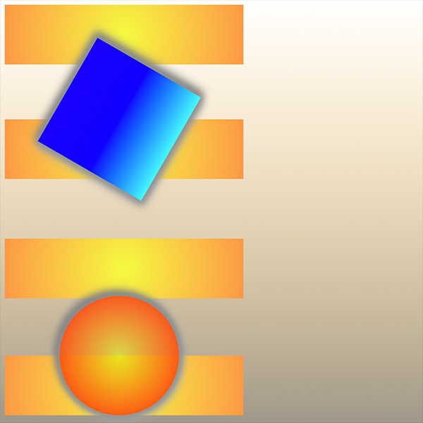 An image of an online instrument built by Mitch Stahlmann, four golden bars are stacked running horizontally on the left side of the frame, an askew blue square overlaps the top two golden bars and a orange ball overlays the bottom two.